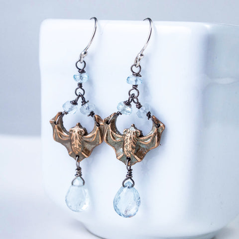 Art Nouveau Inspired Bronze and Aquamarine Bat Earrings