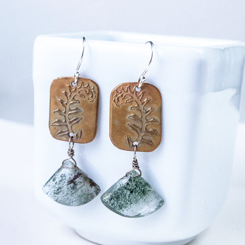 Bronze Fern and Chlorite Included Garden Quartz Earrings