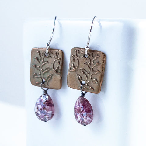 Bronze Graceful Fern Earrings with Mystic Moss Amethyst