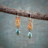 Antique Lovebirds with Teal Mystic Silverite Bronze Earrings
