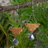 "Bronze Arabesque ""Trapeze"" Earrings with Mystic Labradorite"
