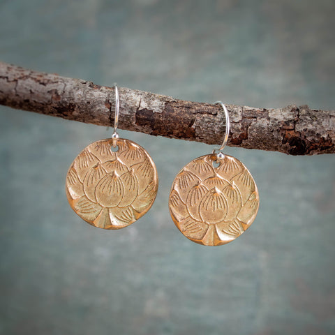 Bronze Lotus Earrings