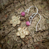 Sakura Earrings in Bronze with Pink Ruby