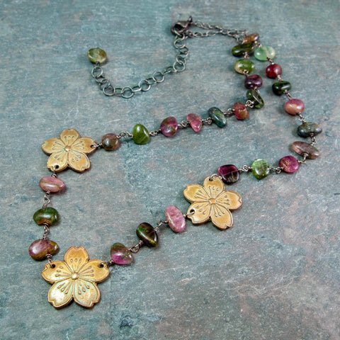 Sakura Cherry Blossom Bronze Necklace with Watermelon Tourmaline