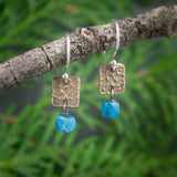 bronze tiny textured squares with neon blue apatite cubes