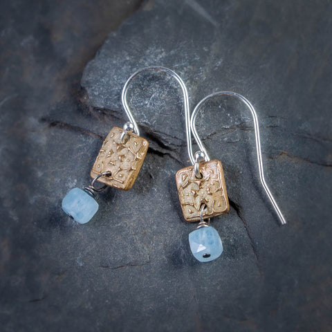 Bronze Mini Tapestry with Aquamarine Cube Earrings