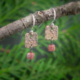 Bronze Mini Tapestry with Pink Tourmaline Cube Earrings