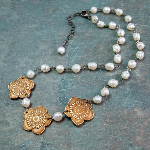 "Ume Plum Blossom Bronze Necklace with Druzy ""Rosebud"" Pearls"