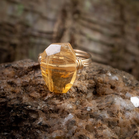 Citrine Faceted Oval Nugget Ring
