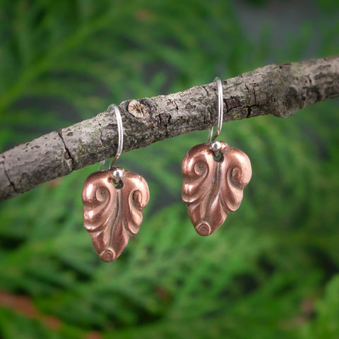 Copper Elvish Leaf Earrings