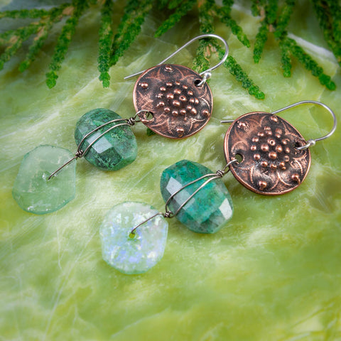 Etruscan Inspired Copper, Chrysocolla and Ancient Roman Glass Earrings