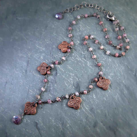 Copper Byzantine Collar with Mystic Moss Amethyst and Strawberry Rutilated Quartz
