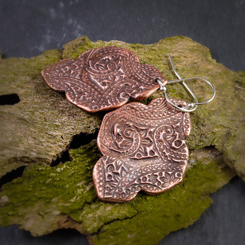 Bold Textural Copper Arabesque Earrings