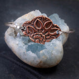 Mehndi Lotus Copper and Sterling Silver Bangle Bracelet