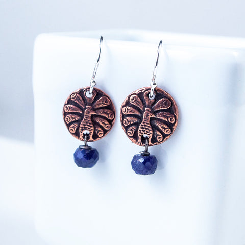 Copper Peackock and Blue Sapphire Earrings
