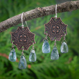 bold statement copper octogonal celtic and moss aquamarine elongated pyramid briolette earrings