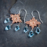 Blue Topaz and Copper Antique Star Flower Chandelier Earrings