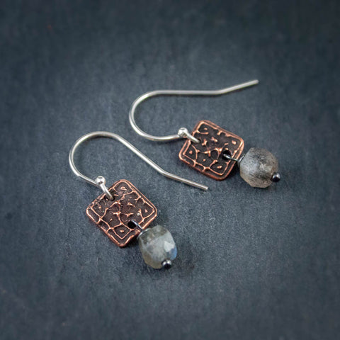 tiny textured copper squares with labradorite hexagonal cubes