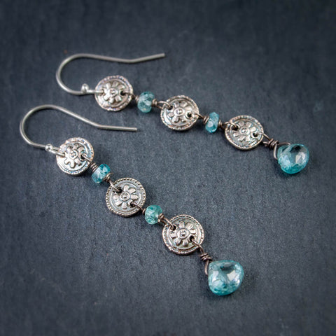 Fine Silver Flowerette and Blue Zircon Cascade Earrings