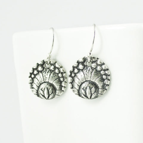 Silver Deco Lotus Earrings