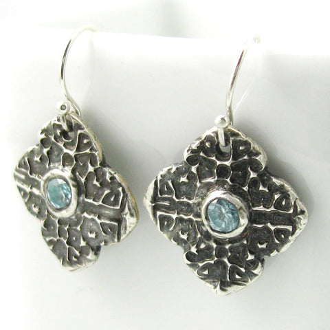 Tapestry Earrings with Blue Zircon