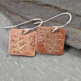 Tiny Square Copper Woodland Fern Earrings