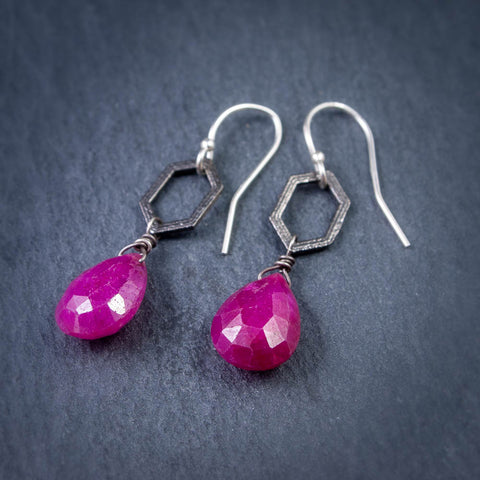 Pink Ruby Teardrop Earrings