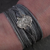 Nouveau Silver Flying Owl Silk Wrap Bracelet