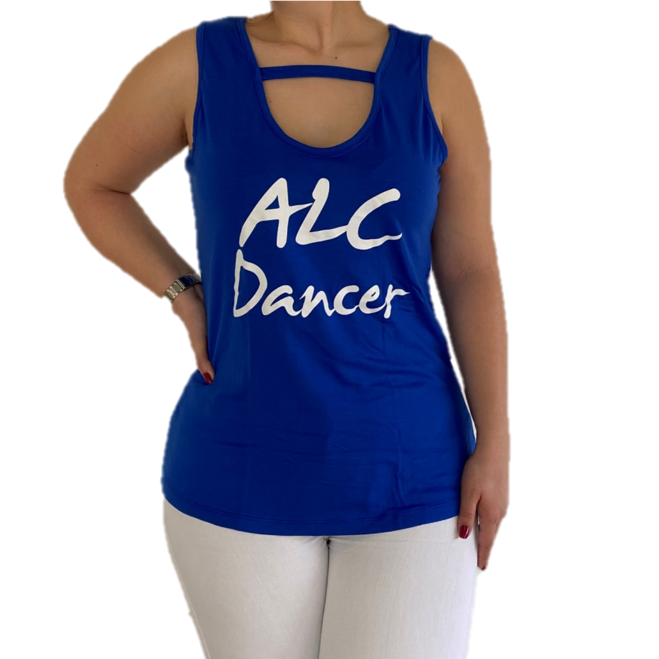 Top ALC Dancer Mulher - Azul e Branca --- Top ALC Dancer Woman - Blue and White