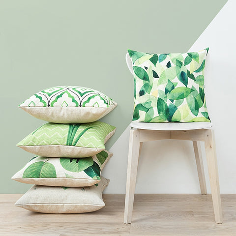 Green Leaves Cushion Cover