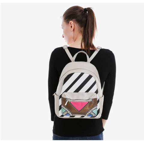 Strip Patchwork Mini Backpack