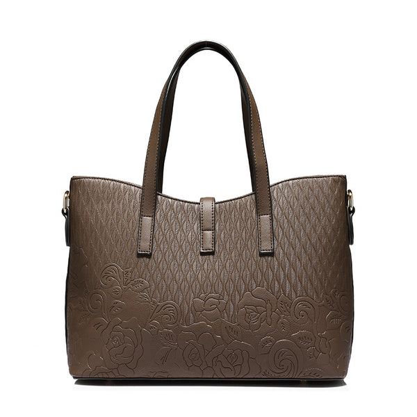 Floral Embossed Tote Bag