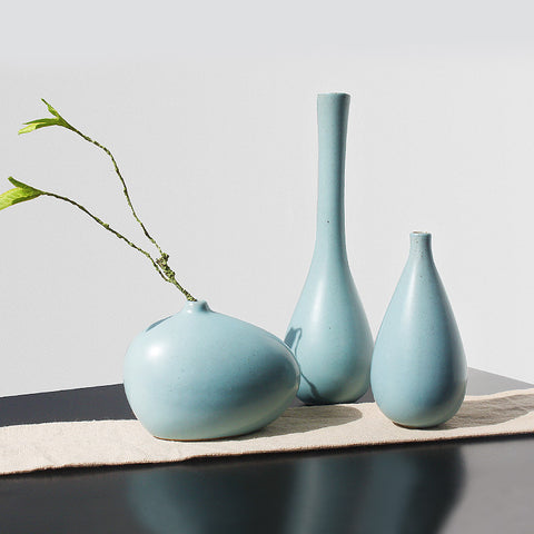 Blue Ceramic Flower Vase