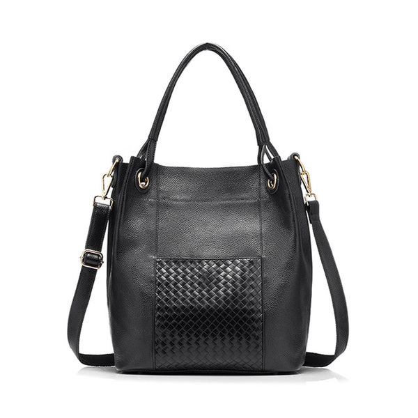 Casual Leather Bucket Bag