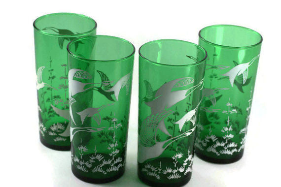 vintage anchor hocking wild geese tumblers in green
