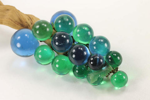 Mid Century Mod Green and Blue Lucite Grapes