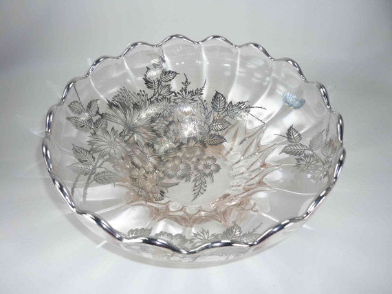 New Martinsville Janice Bowl with Sterling Silver Overlay