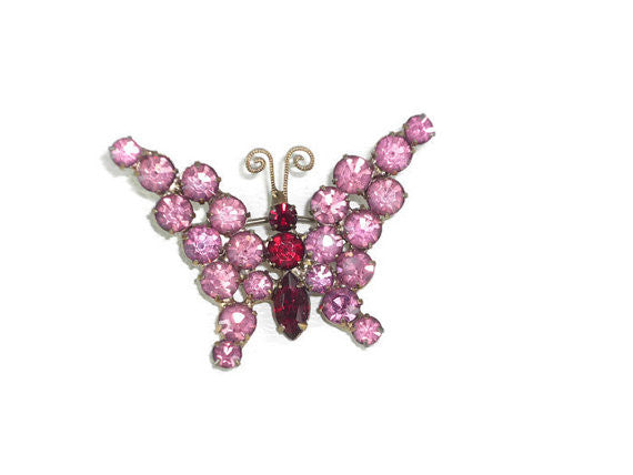 Vintage Pink Rhinestone Butterfly Brooch with Red Body