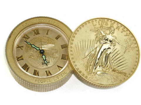 Vintage E F Hutton Bulova Clock, Lady Liberty Coin Stack Shaped with Swivel Top, Works