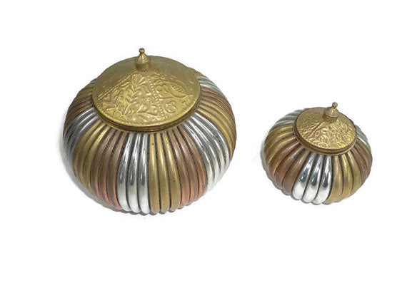 Vintage Brass and Chrome Trinket Boxes