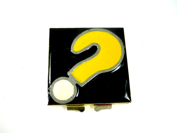 Vintage Yellow and Black Enamel Question Mark Compact Mirror