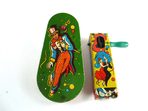 vintage tin lithograph noisemakers noise makers New Year's Eve