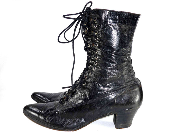 Victorian black leather boots antique granny boots