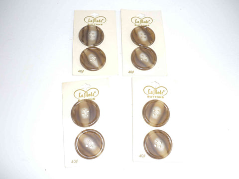 vintage brown and tan La Mode plastic buttons