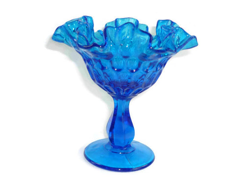 Vintage Fenton Thumbprint Colonial Blue Footed Compote with Ruffled Edge
