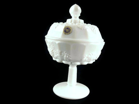 Westmoreland Milk Glass Paneled Grape Footed Candy Dish