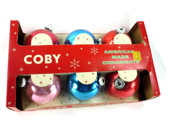 vintage Coby mercury glass Christmas ornaments silvered