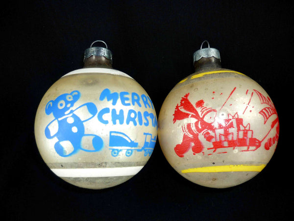 vintage stenciled mercury glass Christmas ornaments