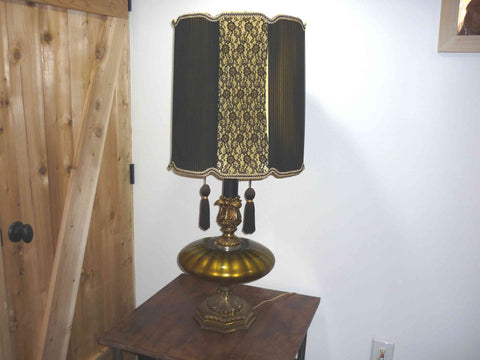 Mid Century Gold Table Lamp with Black Lace Shade