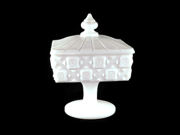 Vintage Westmoreland Old Quilt Pattern Square Milk Glass Candy Dish
